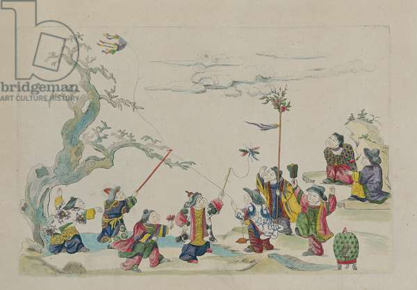 Children flying kites, from an album of Chinese drawings, 1735 (w/c on paper)