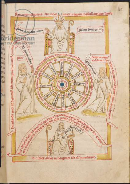 Ms 738/1401 f.148r The Wheel of True Religion by Jean de Stavelot (1388-1449), from the 'Collection of Writings on St. Benedict, (1432-37)' (vellum)