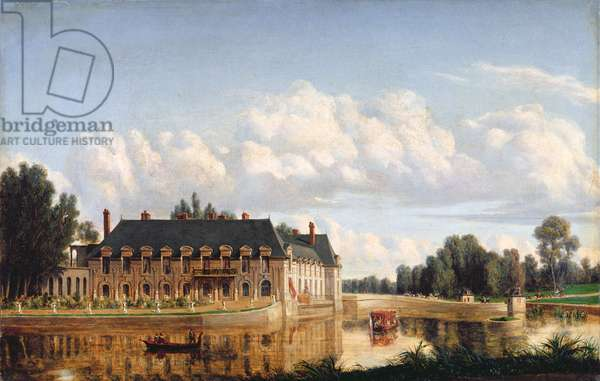 The Chateau de Chantilly, view of the English Garden, 1845 (oil on canvas)