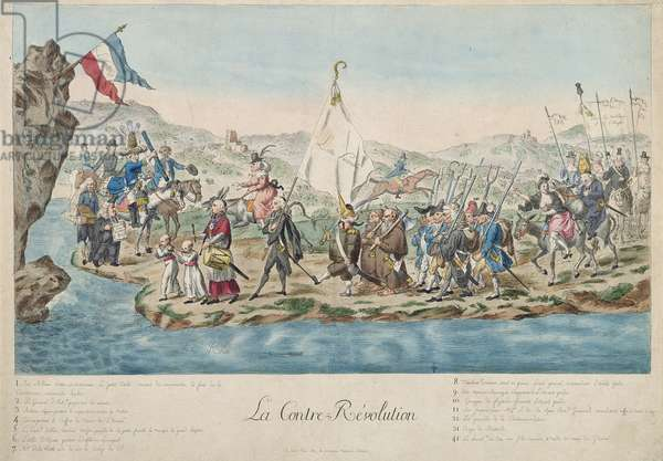 The Journey across the Rhine of the Counter Revolution, 1792 (coloured engraving)