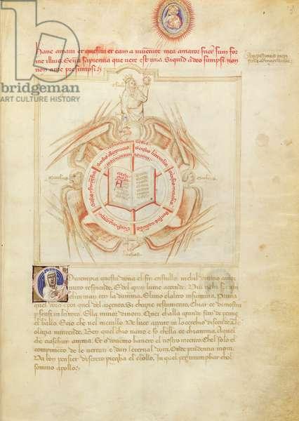 Ms 599/1426 fol.2r Theology, from 'Panegyric of Bruzio Visconti' written by Bartolomeo da Bologna di Bartoli (fl.1374) (vellum)