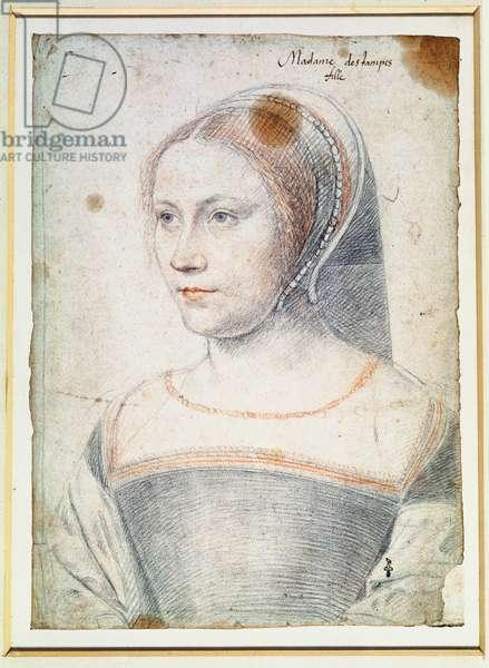 Anne de Pisseleu, (1508-80) Duchesse d'Etampes or possibly Diane de Poitiers (1499-1566) as a widow, c.1520-25 (pencil on paper)