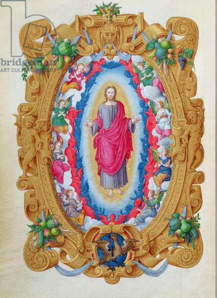 Ms 1476/1943 fol.3v Christ in Glory with the Eagle of St. John the Evangelist, from the 'Hours of Constable Anne de Montmorency', 1549 (vellum)