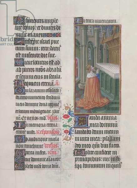 Ms. 65/1284 fol. 85r, Psalms, David in Prayer, from 'Très Riches Heures du Duc de Berry' (vellum)
