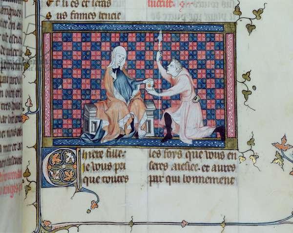 Ms 137/1687 fol.205r A lady handing a letter to a messenger, from Recueil de Traites de Devotion, 1371-78 (vellum)