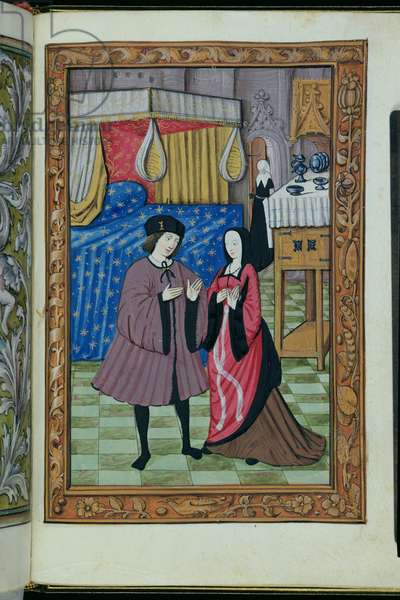 Ms 388/1475 f.17r Discussions between man and wife (vellum)