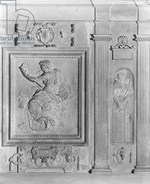 St. Luke the Evangelist, Faith, detail from the chapel altar of Chateau d'Ecouen, c.1544-52 (marble) (b/w photo)