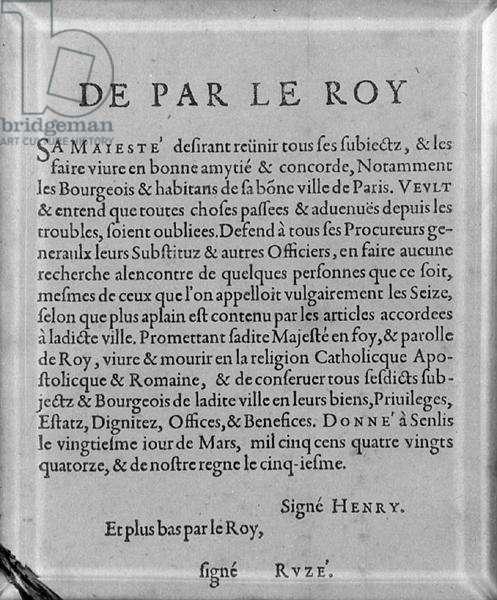 Edict of Henri IV (1553-1610) Prescribing Good Intent between Subjects
