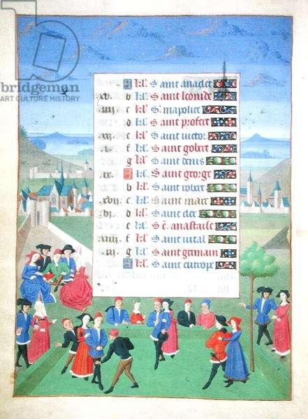 Ms 76/1362 fol.4v April: Playing Games, from the 'Heures de la Duchesse de Bourgogne', c.1450 (vellum)