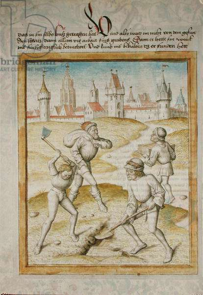 Ms 680/1389 Men digging up their coffers, from 'The Fables of Bidpai', c.1480 (vellum)