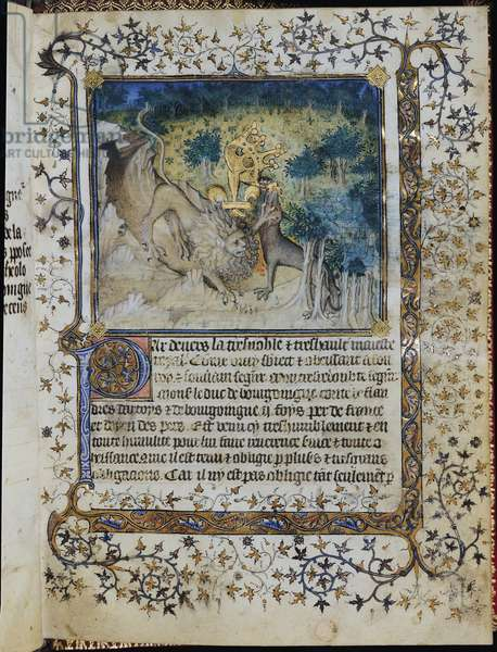 Ms 878/1197 fol.2 The Lion of Burgundy Attacking the Wolf of Orleans, from 'La Justification du Duc de Bourgogne' by Jean le Petit, 1408 (vellum)