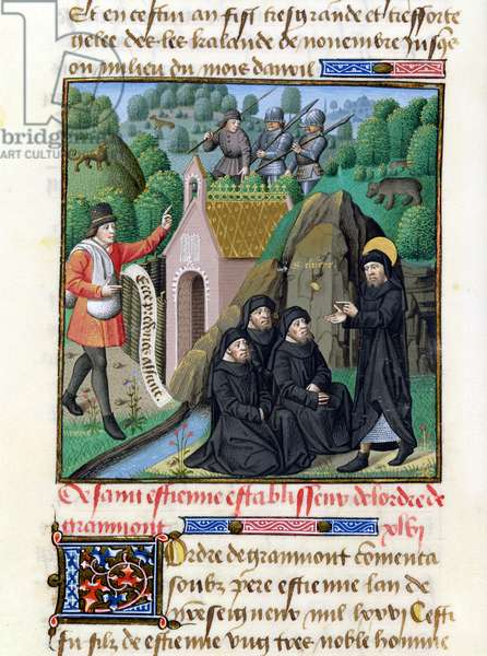 Ms 722/1196 fol.162v St.Etienne Establishing the Order of Grammont in 1076, from Le Miroir Historial, by Vincent de Beauvais (vellum)