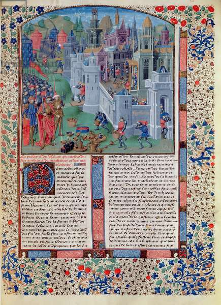 Ms 728/312 fol.301v Antiochus Epiphanes IV Seleucid King of Syria (175-163 BC) and his army before Jerusalem, and the pillage of the Jewish Temple, French edition of original written by Jean de Courcy (c.1350-1431) (vellum)