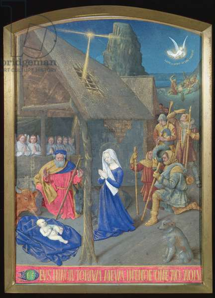 Ms Fr 71 fol.8 The Adoration of the Shepherds, from the Hours of Etienne Chevalier, c.1445 (vellum)