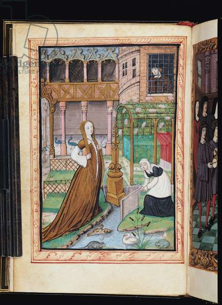 Ms 388/1475 f.4v A Garden inside a Palace with a Woman and her Servant (vellum)