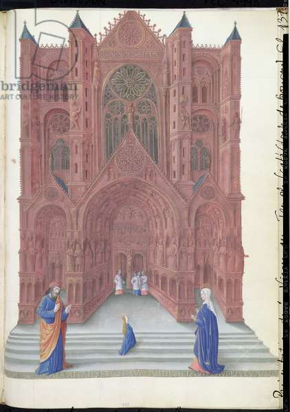 Ms 65/1284 f.137r The Presentation of the Virgin at the Temple, from the Tres Riches Heures du Duc de Berry, early 15th century (vellum)