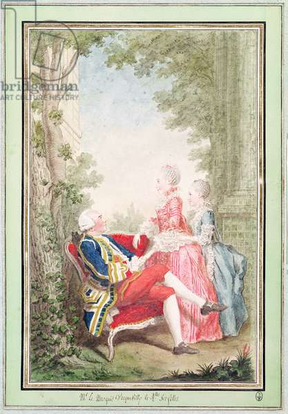 Armand Hennequin (1747-1830) Marquis of Ecquevilly and his Daughters, 1767 (pencil, w/c & gouache on paper)