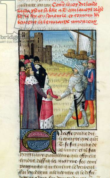 Ms.645-647/315-317 t.1 fol.83r The King of Ireland giving Isolde to Tristan, from the Roman de Tristan (vellum)
