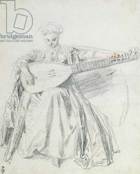 Seated Young Woman Tuning a Lute, c.1715 (pencil & red chalk on paper)