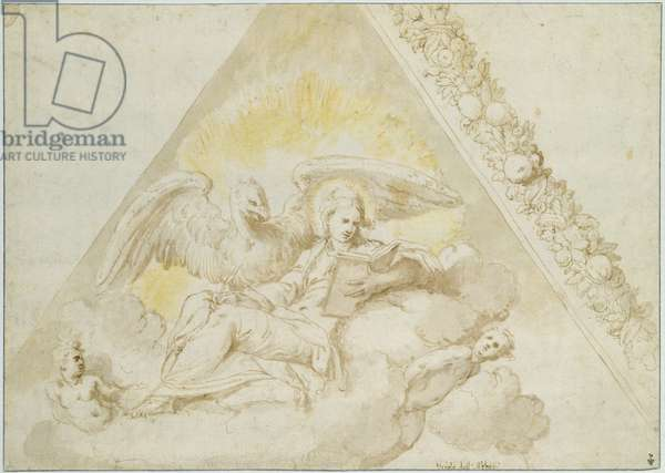 St. John the Evangelist seated on a cloud carried by two angels, accompanied by an eagle, c.1550 (pen & ink and w/c on paper)