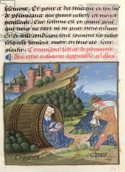 Ms 297/1338 fol.99r Diogenes and Crates of Thebes, from the Book of Good Morals, by Jacques le Grant (1360-1415) (vellum)