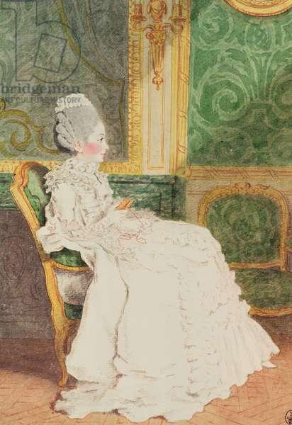 Madame Le Mercier (pencil, watercolour, gouache and red chalk on paper)c.1780