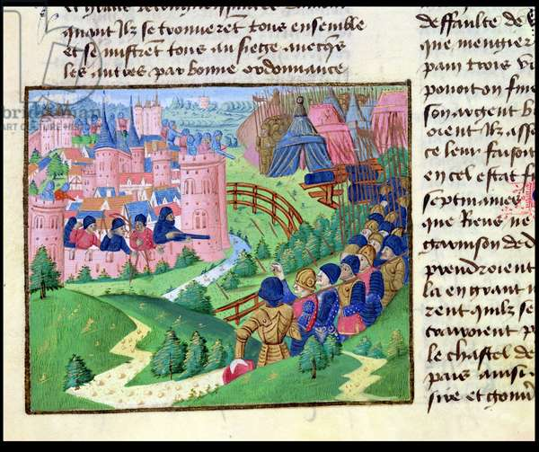 Ms 874/478 f.75v The Siege of Domme by Sir Robert Knolles and Sir John Chandos, from Froissart's Chronicle, c.1472 (vellum)