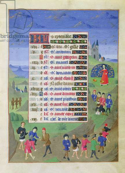 Ms 76/1362 f.9r September: The Return of the Pilgrims from Santiago da Compostela, from the Hours of the Duchess of Burgundy, c.1450 (vellum)