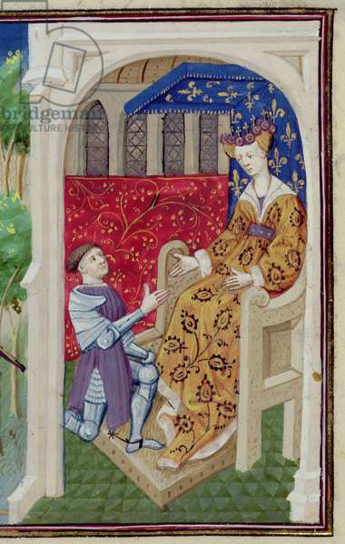 Ms.648/404 fol.102v The Madness of Tristan and Tristan before the Queen Isolde in Cornouaille, from Roman des Chevaliers Galaad, Tristan et Lancelot (vellum) (detail of 164477)