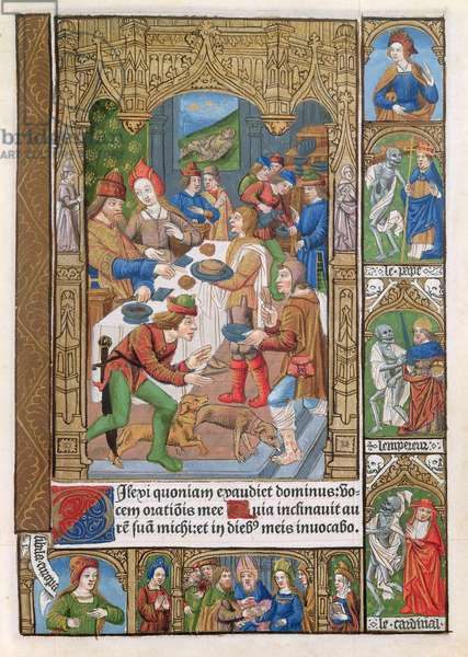 Parable of the Rich Man and Lazarus, from 'Heures a l'Usage de Rome', 1498 (vellum)