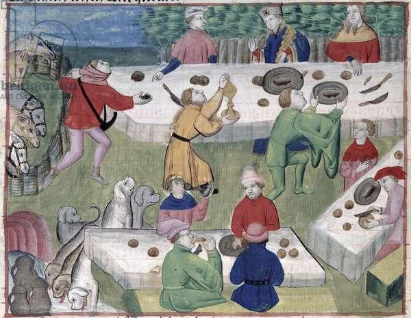 Ms 367/480 fol.44v The Hunter's Lunch, from the 'Livre de la Chasse' by Gaston Phebus de Foix (1331-91) (vellum)