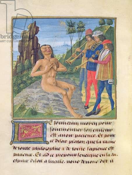 Ms 297/1338 fol.24v Job, from 'Le Livre des Bonnes Moeurs' by Jacques le Grant (vellum)