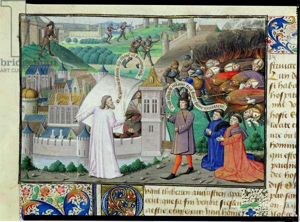 Ms 722/1196 fol.4v The Destruction of Antioch, from Le Miroir Historial, by Vincent de Beauvais (vellum)