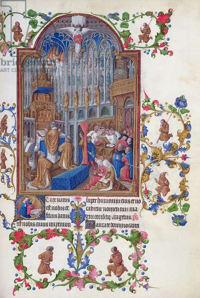 Ms 65/1284 fol.158r The Celebration of Christmas Mass at the Sainte Chapelle, Paris, from Tres Riches Heures du Duc de Berry, early 15th century (vellum)
