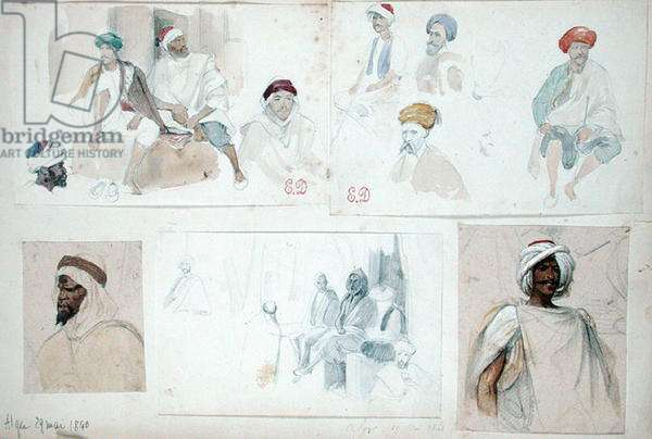 Sketches of Algerian Men, from 'Vues et Portraits Faits Pendant la Campagne de Mai 1840', 1840 (pencil & w/c on paper)