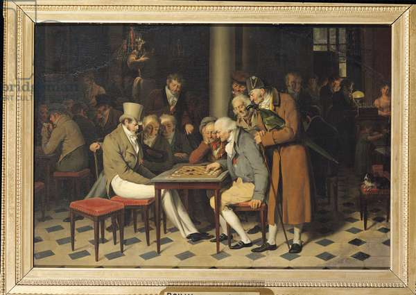 Game of Draughts at the Cafe Lamblin, c.1820 (oil on canvas)