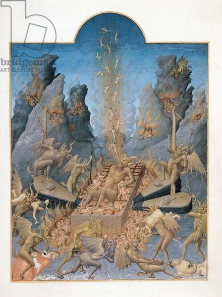 Ms 651 f.108v Hell, from the 'Tres Riches Heures du Duc de Berry' (vellum)