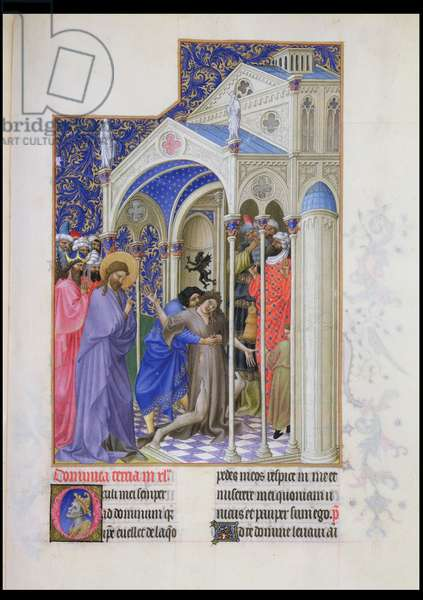 Ms 65/1284 fol.166r Curing a Possessed Woman, from the 'Tres Riches Heures du Berry' (vellum)