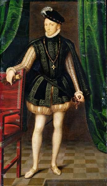 Portrait of Charles IX (1550-74) (oil on panel)