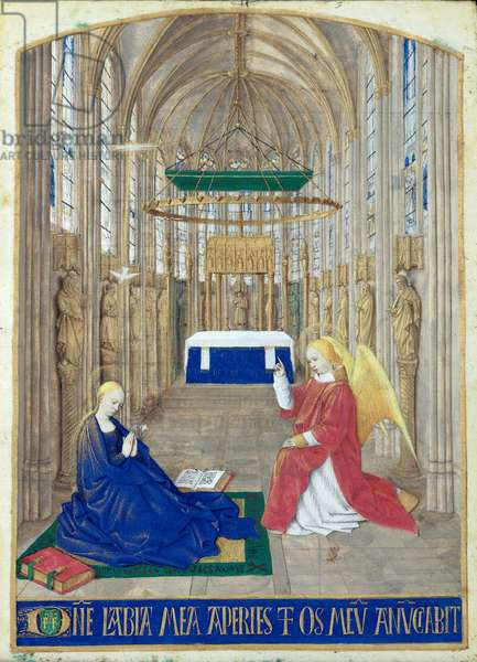 Ms Fr 71 fol.5 The Annunciation, from the 'Heures d'Etienne Chevalier', c.1445 (vellum)