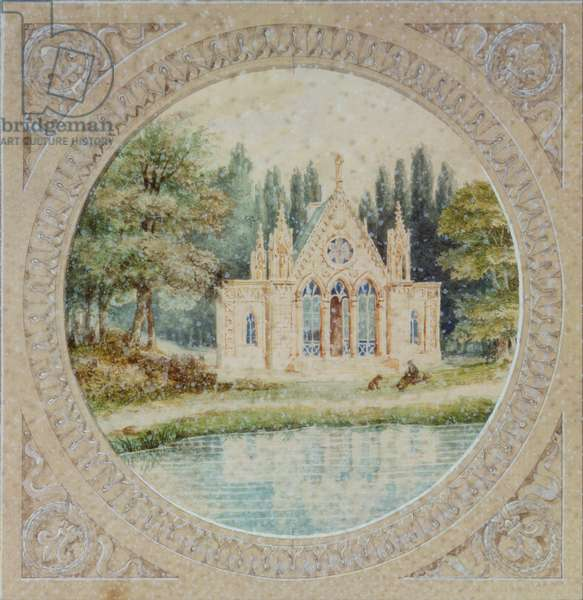 Neo-gothic Chapel from  a Map of the gardens of Chantilly (w/c on paper)