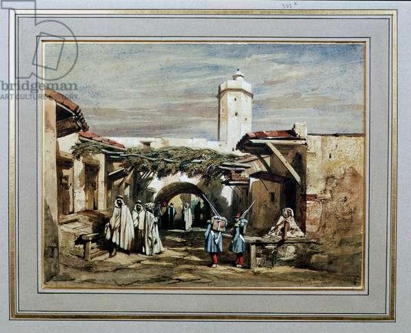 The Port of Blida, Algeria, 1840 (w/c on paper)