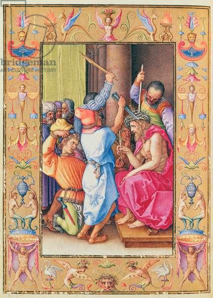 Ms 39/1601 The Mocking of Christ, from 'Passio Domini Nostri Jesu Christi Secundum Joannem' (vellum)
