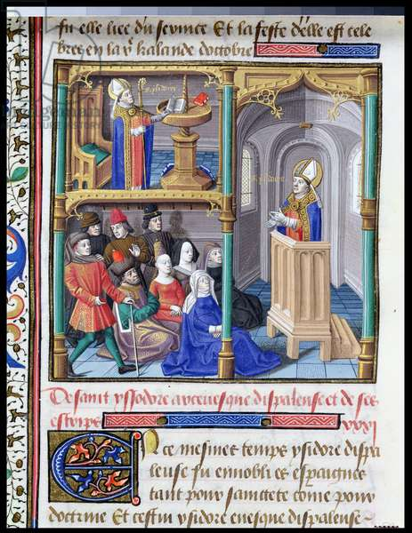 Ms 722/1192 fol.54v Scenes from the Life of St. Isidore, from Le Miroir Historial, by Vincent de Beauvais (vellum)