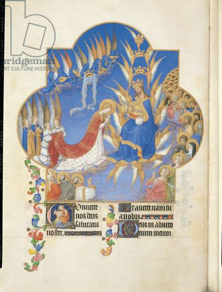 Ms 65/1284 fol.60v The Coronation of the Virgin, from the 'Tres Riches Heures du Duc de Berry' (vellum)