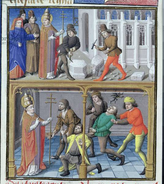 Ms 722/1198 fol.8v Scenes from the Life of St. Gregory the Great (540-604) from Le Miroir Historial, by Vincent de Beauvais (vellum)
