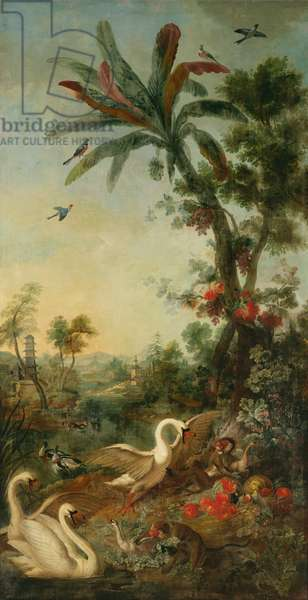 Monkeys and Swans, panel from the bedroom of Louis Henri I (1692-1740) Prince de Conde (oil on canvas)