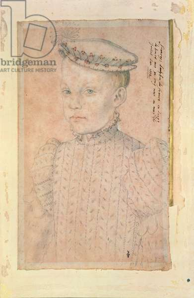 Portrait of Francis II (1544-60) as Dauphin of France at the age of Eight, 1552 (pencil & sanguine on paper) (pair of 106890)