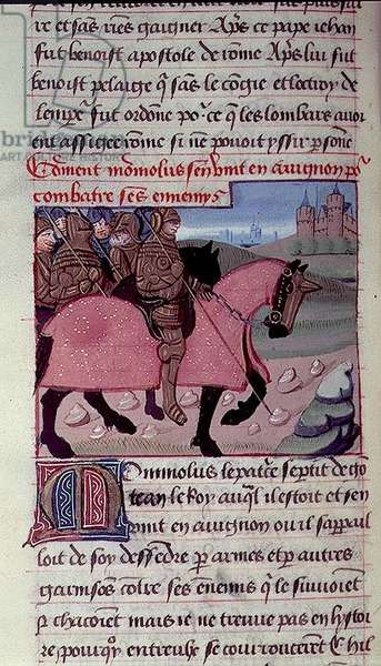 Ms 869/522 fol.63v Monmolus, patrician of Gontran, King of Burgundy, arriving in Avignon, 1217-37 (vellum)
