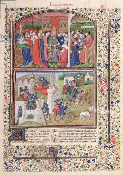 Ms 860/401 Fol.1 The Pope, the Holy Roman Emperor and the Duke of Berry and the murders of the villagers and peasants, from the prologue to 'Cas des Nobles Hommes et Femmes', by Giovanni Boccaccio (1313-75) translated by Laurent de Premierfait, 1465 (vellum) (see also 114091)